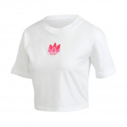 Adidas Originals Adicolor 3D Trefoil Crop Top Női Póló (Fehér-Rózsaszín) GM8512