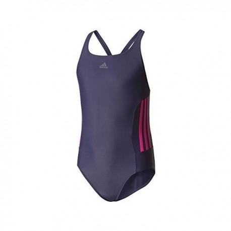 Adidas Infinitex Essence Core 3 Stripes Swimsuit Lány Gyerek Úszódressz (Kék-Rózsaszín) BS0352