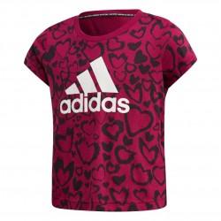 Adidas Must Haves Graphic Tee Lány Gyerek Póló (Sötétrózsaszín-Fehér) GE0939