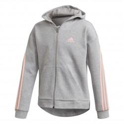 Adidas 3 Stripes FZ Hoodie Lány Gyerek Felső (Szürke-Rózsaszín) GE0951