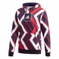 Adidas Allover Print Hoodie Férfi Pulóver (Piros-Fehér) FR7211