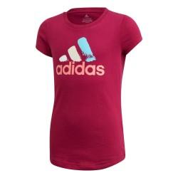 Adidas JG BOS Tee Lány Gyerek Póló (Sötétrózsaszín-Kék) GD9248