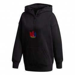 Adidas Originals Adicolor 3D Trefoil Halfzip Hoodie Női Pulóver (Fekete-Színes) GD2246
