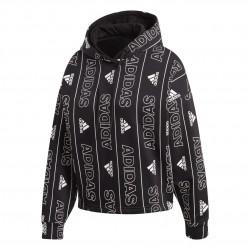 Adidas BOS Allover Printed Overhead Hoodie Női Pulóver (Fekete-Fehér) FR5103