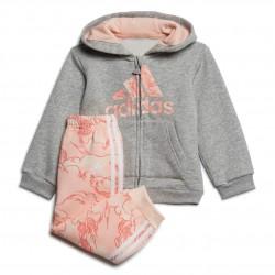 Adidas Fleece Hooded Jogger Set Kislány Bébi Együttes (Szürke-Rózsaszín) GD3925