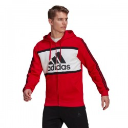 Adidas Essentials Colorblock FZ Hoodie Férfi Felső (Piros-Fehér) GP4313
