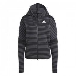 Adidas Z.N.E. Sportswear Stripe Allover-Print Hoodie Női Pulóver (Fekete-Sötétszürke) GI4625
