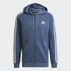 Adidas French Terry 3-Stripes Kapucnis Férfi Pulóver (Kék-Fehér) GK9035