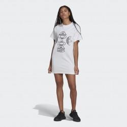 Adidas Collegiate Tee Dress Női Póló Ruha (Fehér) H15814