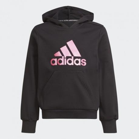 Adidas Future Icons Logo Gyerek Kapucnis Pulóver (Fekete-Pink) H26589