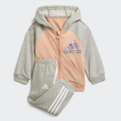 Adidas Badge of Sport Full-Zip Hoodie Jogger Bébi Együttes (Szürke-Barack) H28831