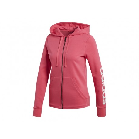 4da32afc2d03 Adidas Essentials Linear Full Zip Hoodie Női Felső (Rózsaszín-Fehér) CF8802