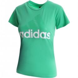 Adidas Essentials Linear Slim Tee Női Póló (Zöld-Fehér) CF8820
