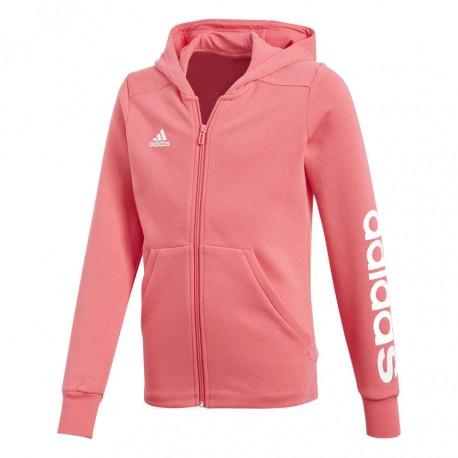 46d5394b2662 Adidas YG Linear FZ Hoodie Lány Gyerek Felső (Rózsaszín-Fehér) CF7289