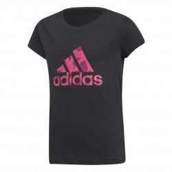 Adidas YG Logo Tee Lány Gyerek Póló (Fekete-Rózsaszín) DJ1324
