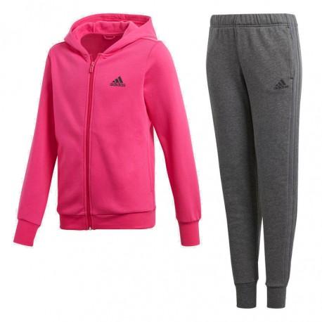 Adidas YG Hooded Track Suit Lány Gyerek Melegítő Együttes (Rózsaszín-Szürke) DN8423