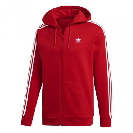 Adidas Originals 3 Stripes Hoodie Férfi Felső (Piros-Fehér) DV1635