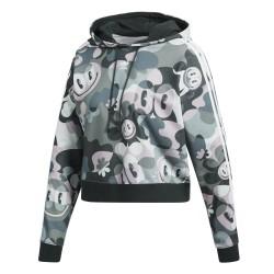 Adidas Originals Cropped Hoodie Női Pulóver (Zöld-Fehér) DV2661