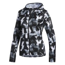 Adidas Own The Run Jacket Női Futó Dzseki (Fekete-Fehér) DQ2628