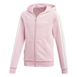 Adidas Essentials 3 Stripes FZ Hoodie Lány Gyerek Felső (Rózsaszín-Fehér) DV0369