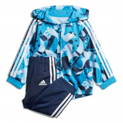 Adidas I Shiny Full Zip Hooded Jogger Kisfiú Bébi Együttes (Kék-Fehér) DV1241