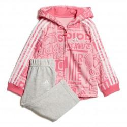 Adidas Graphic Fleece Jogger Set Kislány Bébi Együttes (Rózsaszín-Szürke) DV1245