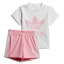 Adidas Originals Short Tee Set Kislány Bébi Nyári Együttes (Fehér-Rózsaszín) DV2815