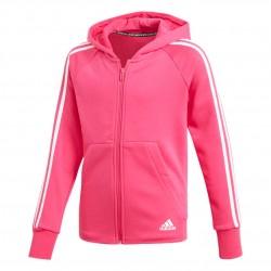 Adidas MH 3 Stripes FZ Hoodie Lány Gyerek Felső (Rózsaszín-Fehér) DX2456