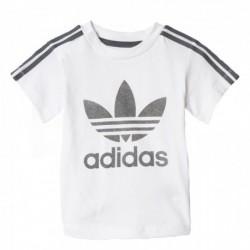 Adidas Originals 3 Stripes Trefoil Tee Kisfiú Bébi Póló (Fehér-Szürke) BQ4272