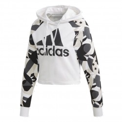 Adidas Sport ID Printed Crop Hoodie Női Pulóver (Fehér-Fekete) DP2381
