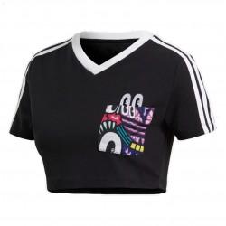 Adidas Originals 3 Stripes Cropped Tee Női Haspóló (Fekete-Színes) DV2658
