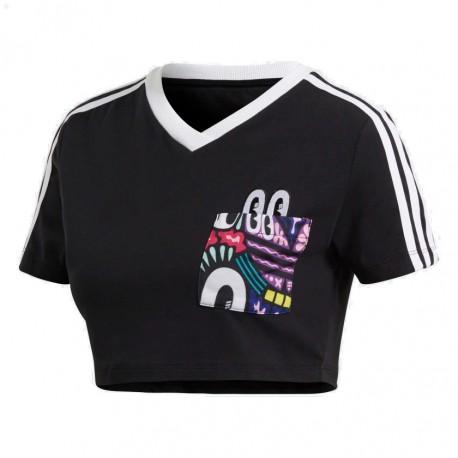 8d9f799876 Adidas Originals 3 Stripes Cropped Tee Női Haspóló (Fekete-Színes) DV2658