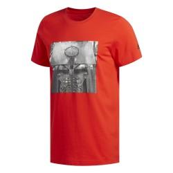 Adidas Skull Ball Tee Férfi Póló (Piros-Fekete) DX0322