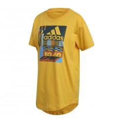 Adidas MH Graphic Tee Női Hosszított Póló (Sárga-Színes) EH5628