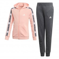 Adidas Hooded Tracksuit Lány Gyerek Együttes (Rózsaszín-Szürke) ED4636