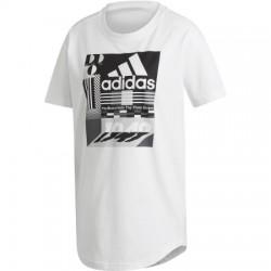 Adidas W MH Graphic Tee Női Hosszított Póló (Fehér-Fekete) ED6173
