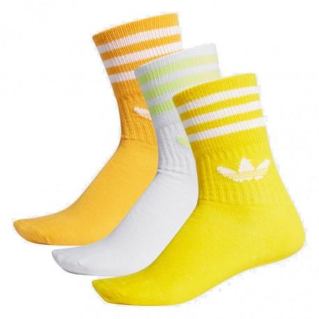 Adidas Originals Mid Cut Crew Socks 3P 3 Páras Zokni (Sárga-Fehér) ED9397