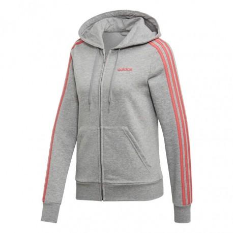 Adidas Essentials 3 Stripes FZ Hoodie Női Felső (Szürke Rózsaszín) EI0774