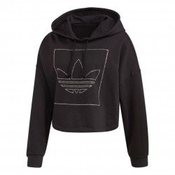 Adidas Originals Crop Hoodie Női Pulóver (Fekete) FM1915